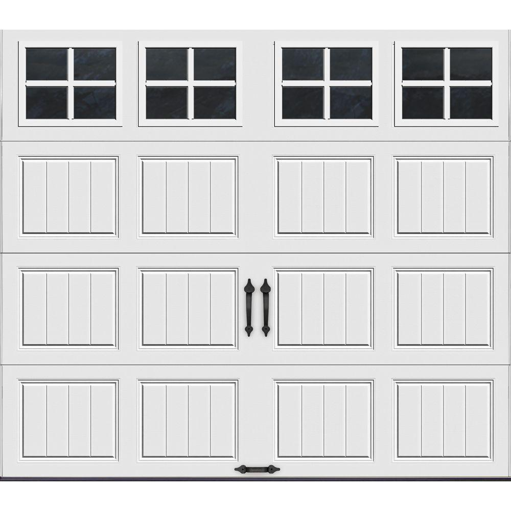 Clopay Gallery Collection 8 Ft X 7 Ft 6 5 R Value Insulated White Garage Door With Sq22 Window Gr1sp Sw Sq22 The Home Depot White Garage Doors Garage Doors Garage Door Insulation