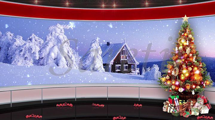 92HD Christmas TV Virtual Studio Green Screen Background ...