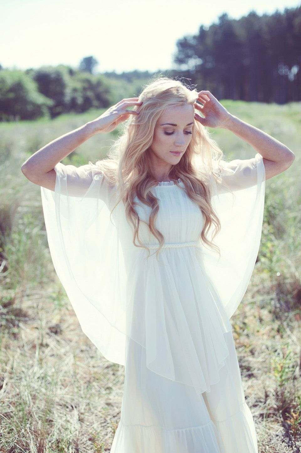 Beautiful natural ecofriendly and bohemian bridal style shot on
