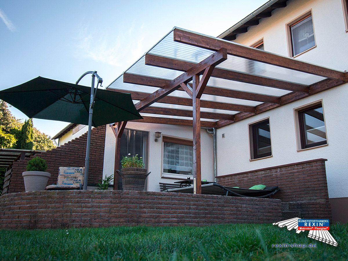 ein holz terrassendach der marke rexocomplete 5m x 5m in nussbaum mit transparenten plexiglas. Black Bedroom Furniture Sets. Home Design Ideas