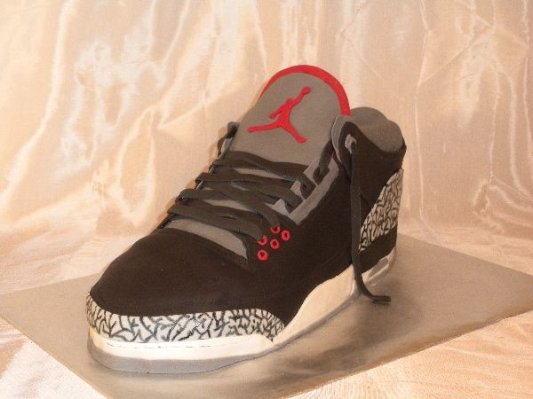 check out b1949 87812 Jordan Shoe Cake - This is the 2nd Jordan shoe cake I ve made. My husband  LOVES and collects Jordans, so every year he gets a different shoe cake for  his ...