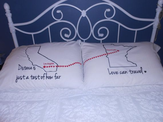 Long Distance Love Quote  Connecting Hearts Between States  Bedroom Decor   Couples Gift Ideas. Long Distance Love Quote  Connecting Hearts Between States