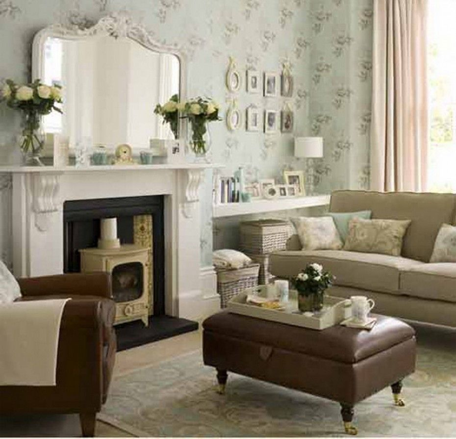 Mirror over mantle Decorating Living Room With Furniture Design