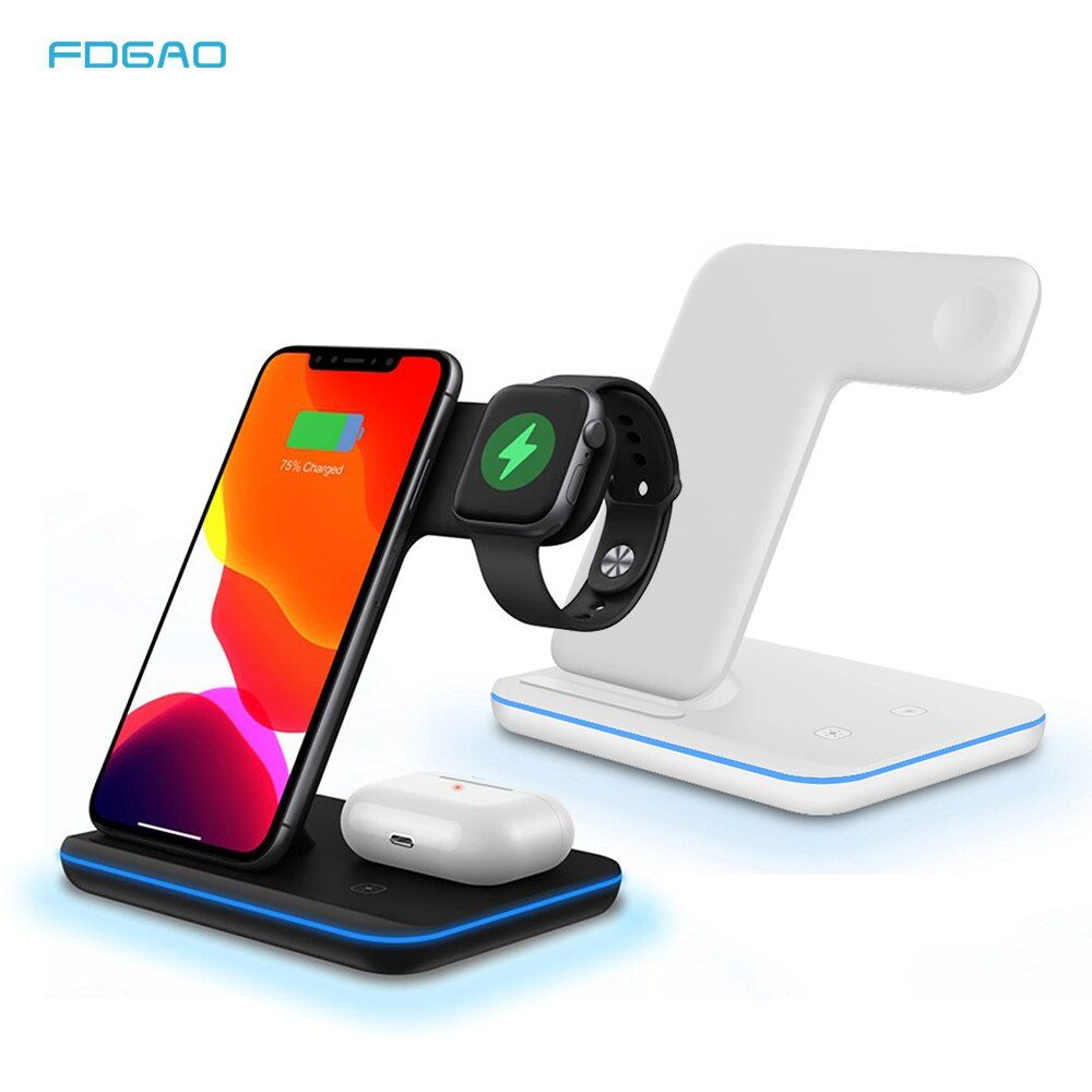 Fdgao 3 In 1 15w Fast Wireless Charger Qi Charging Dock Station For Iphone 11 Pro Xs Max Xr 8 For Apple Watch 5 In 2020 Wireless Charger Docking Station Charging Dock