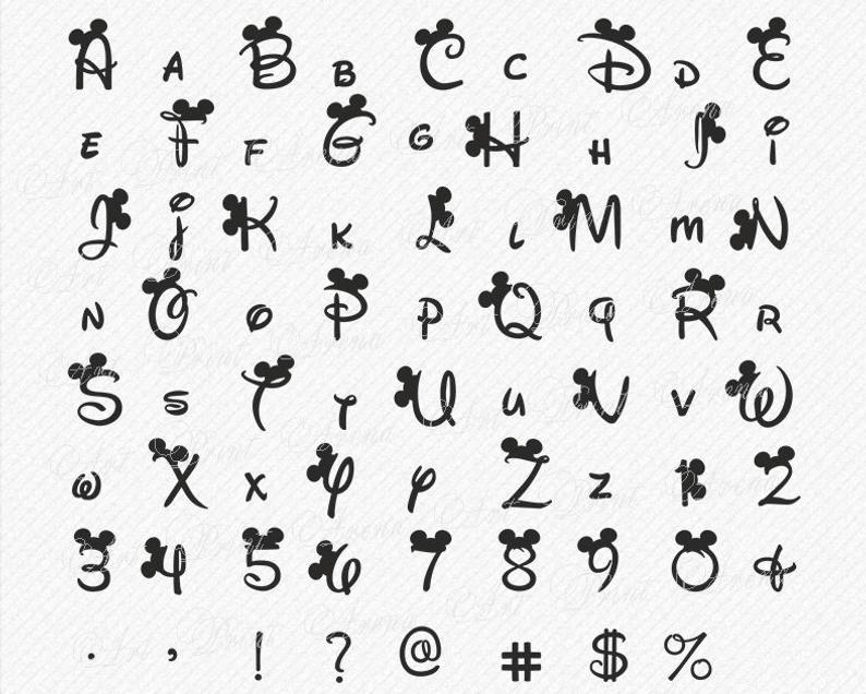 Disney Alphabet SVG Disney font svg Ears svg, Minnie font, Mickey font, Font svg, Disney cricut, Disney cricut font Silhouette Clipart