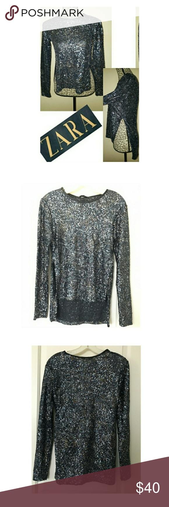 540af1dd Zara sequin blouse never been worn 🌟 Blue sequins combined with Gold  threading Split high low super Sexy Zara blue sequin blouse has flecks of  gold too- ...