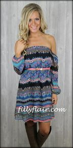 Cold Shoulder aztec printed dress