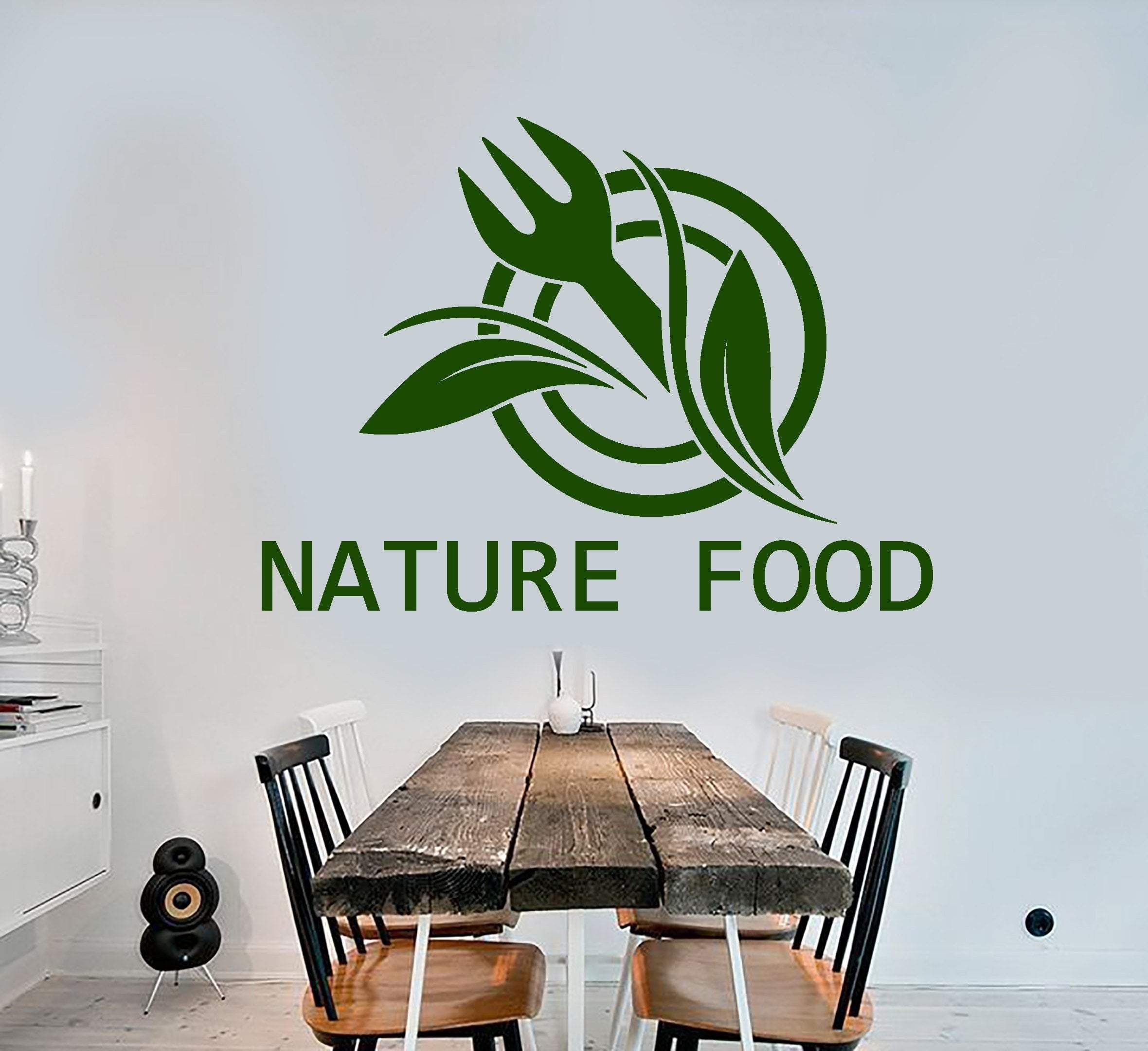 vinyl wall decal natural food logo word fork for cafe on wall logo decal id=90240