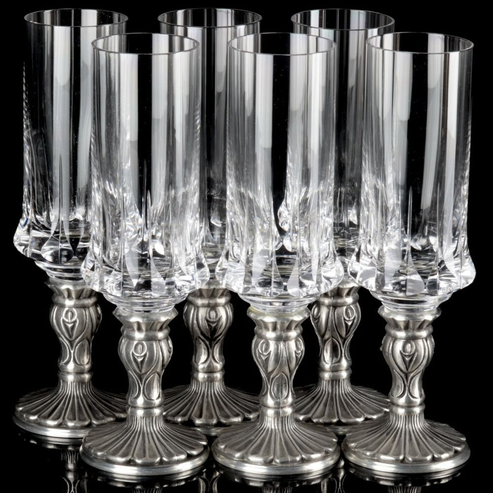 6 Edle Alte Gläser Weingläser Kristallglas auf Zinn Fuß