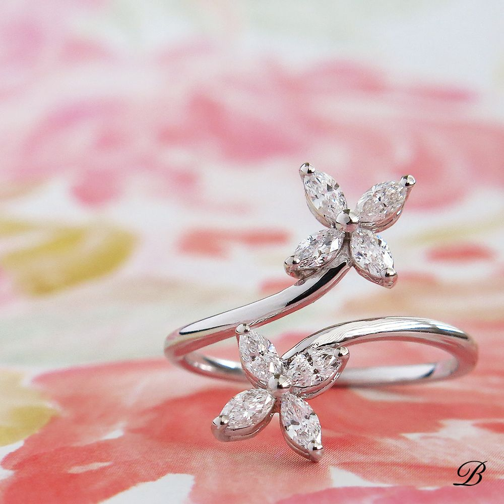 Marquise Diamond Flower Ring | New Arrivals to Bomi! | Pinterest ...