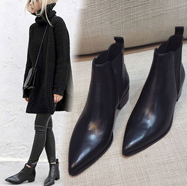 Womens Pointed Toe Black Ankle Riding Chelsea Boots Med