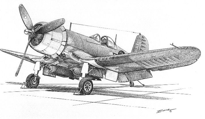 drawing of a f4u corsair