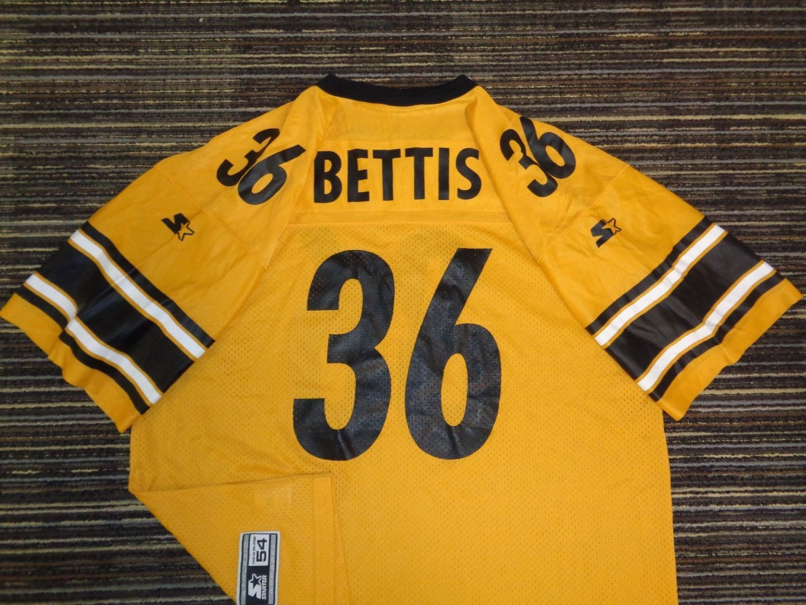 5a3943247 JEROME BETTIS  36 PITTSBURGH STEELERS STARTER GOLD YELLOW NFL MENS GAME  JERSEY (eBay Link)