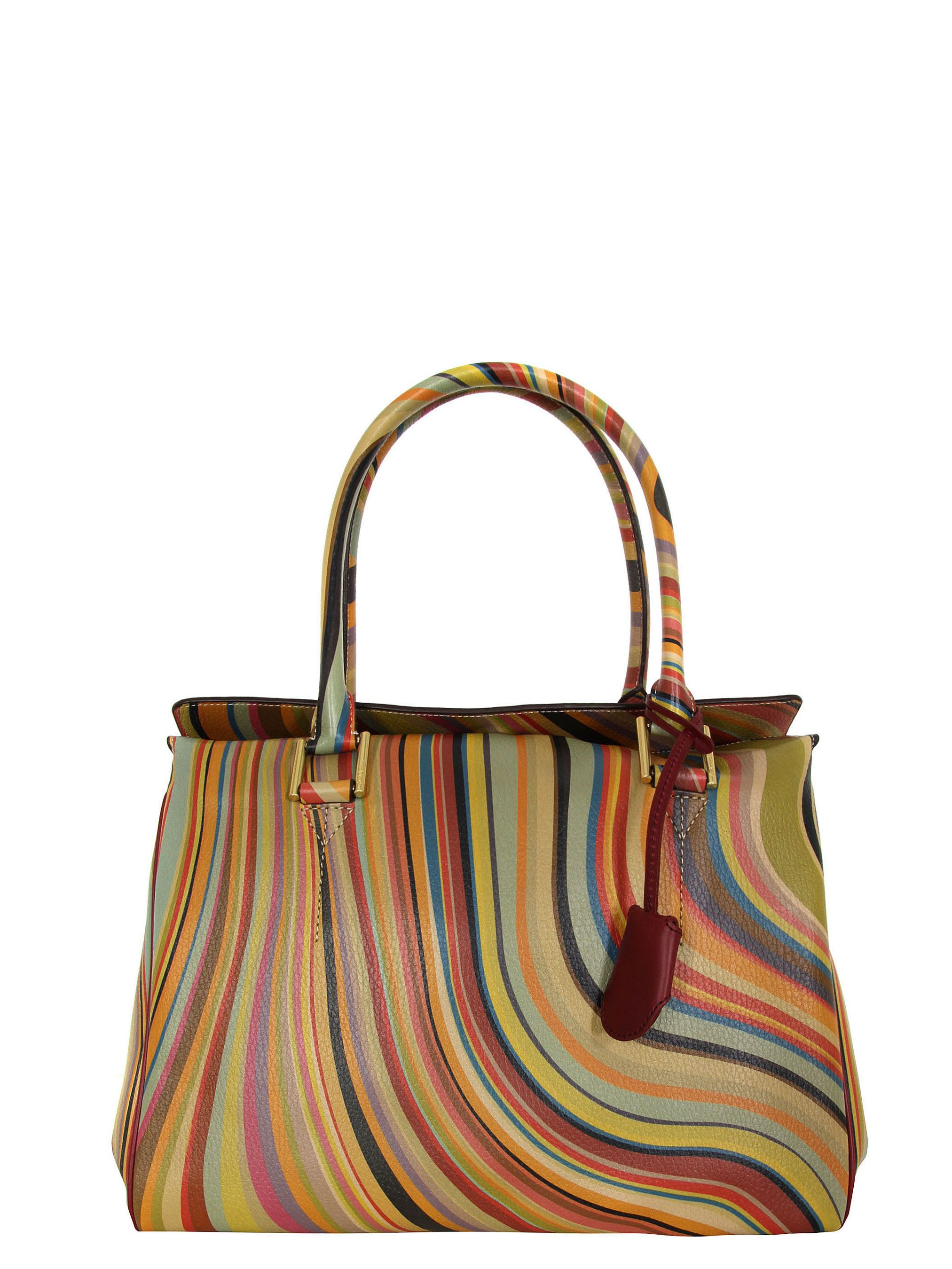 Paul Smith Globe Womens Multi Swirl Leather Bag With A Concealed Magnetic Top Fastening Protective Studded Base Removable Key Fob And