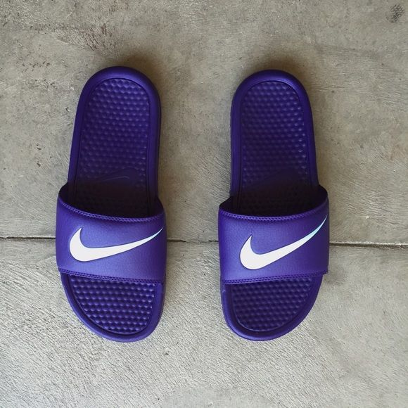 e82dde365a1f Nike Swoosh Sandals ✖ Like New ✖ Purple and Powder Blue Nike Swoosh Slip  Ons ✖ Nike Shoes Sandals