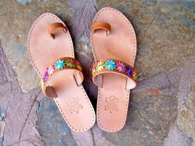 Floral Leather Sandals DIY Tutorial by:-efzincreations