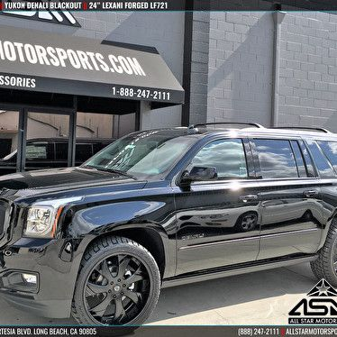 Black Yukon Denali Xl Blackout Package 24 Inch Custom Lexani Forged Lf721
