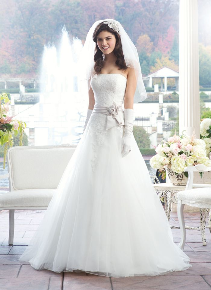 Sincerity wedding dress style 3761 This strapless Alencon lace and ...