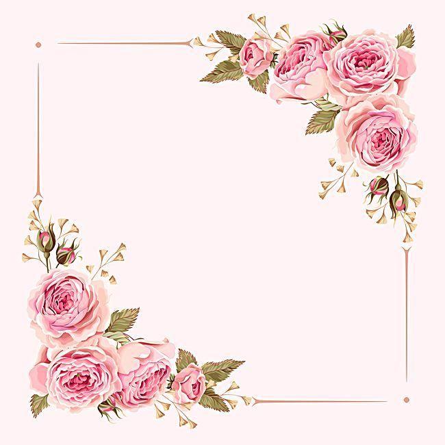 Acuarela Pintada De Rosa Flores De La Boda Frontera Vector