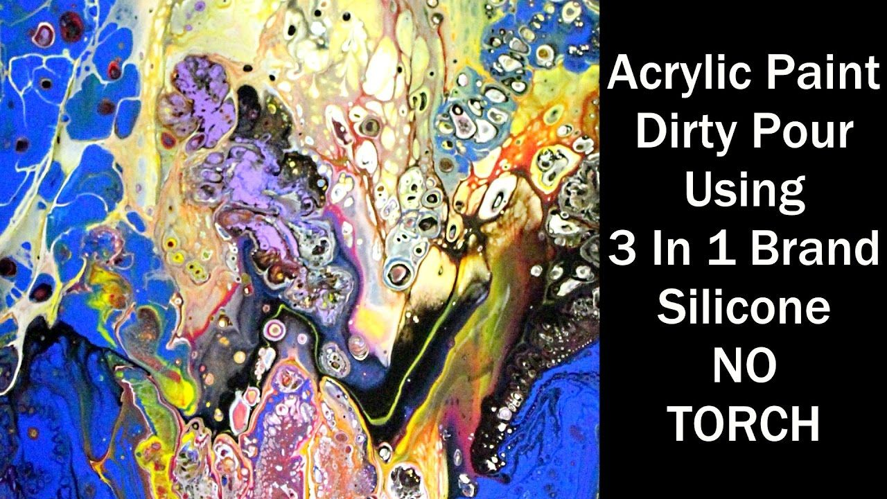 Acrylic pour technique dirty pour using 3 in 1 silicone for Acrylic paint mural