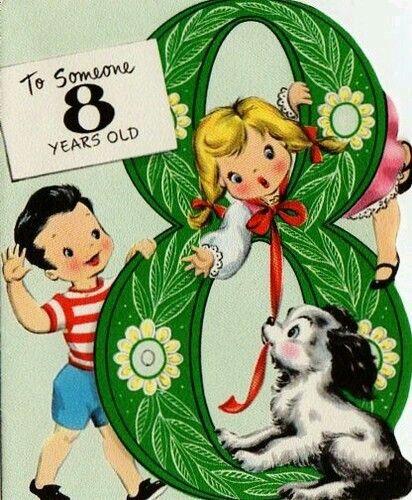 8 Years Vintage Birthday Cards