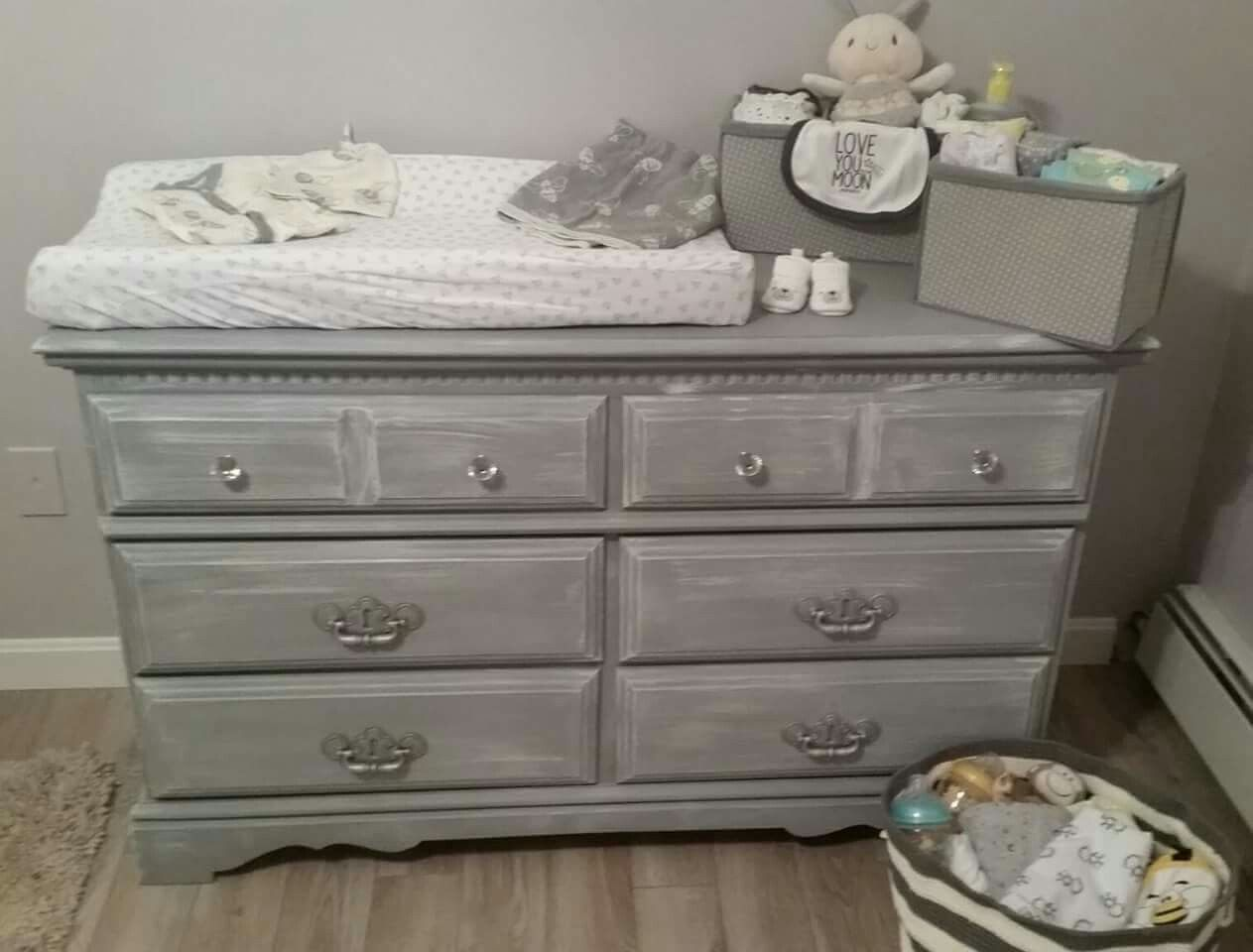 This Is The Matching Dresser Made For A Changing Table To Match The Crib I Finished Gr Painted Baby Furniture Crib With Changing Table Painted Dresser Nursery