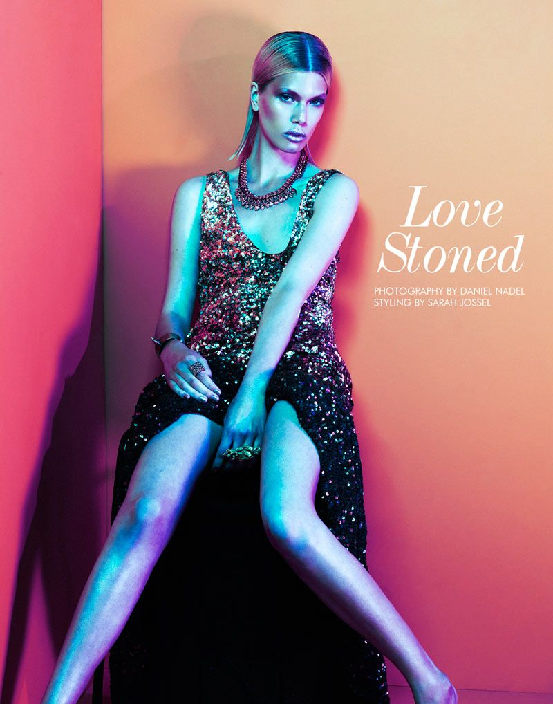 Love Stoned – Photographer Daniel Nadel and stylist Sarah Jossel team up for a story of elegant metallic style with FGR's latest exclusive. Model Kat Cordts gets swathed in an embellished wardrobe of dresses and gems; featuring standout pieces from the likes of Moschino, Christopher Kane, Versace and Antonio Berardi. A slick coif and luminous skin by beauty artist Daniela Koller brings the perfect finishing touch to ladylike ensembles.