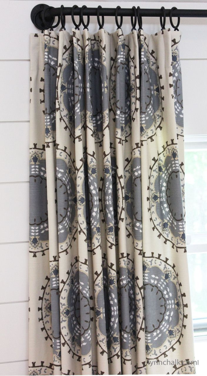 custom pleated drapes by lynn chalk in robert allen dwell studio medallion band in mineral
