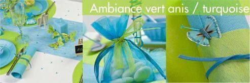 Kit decoration Mariage et Pacs Vert anis / Turquoise