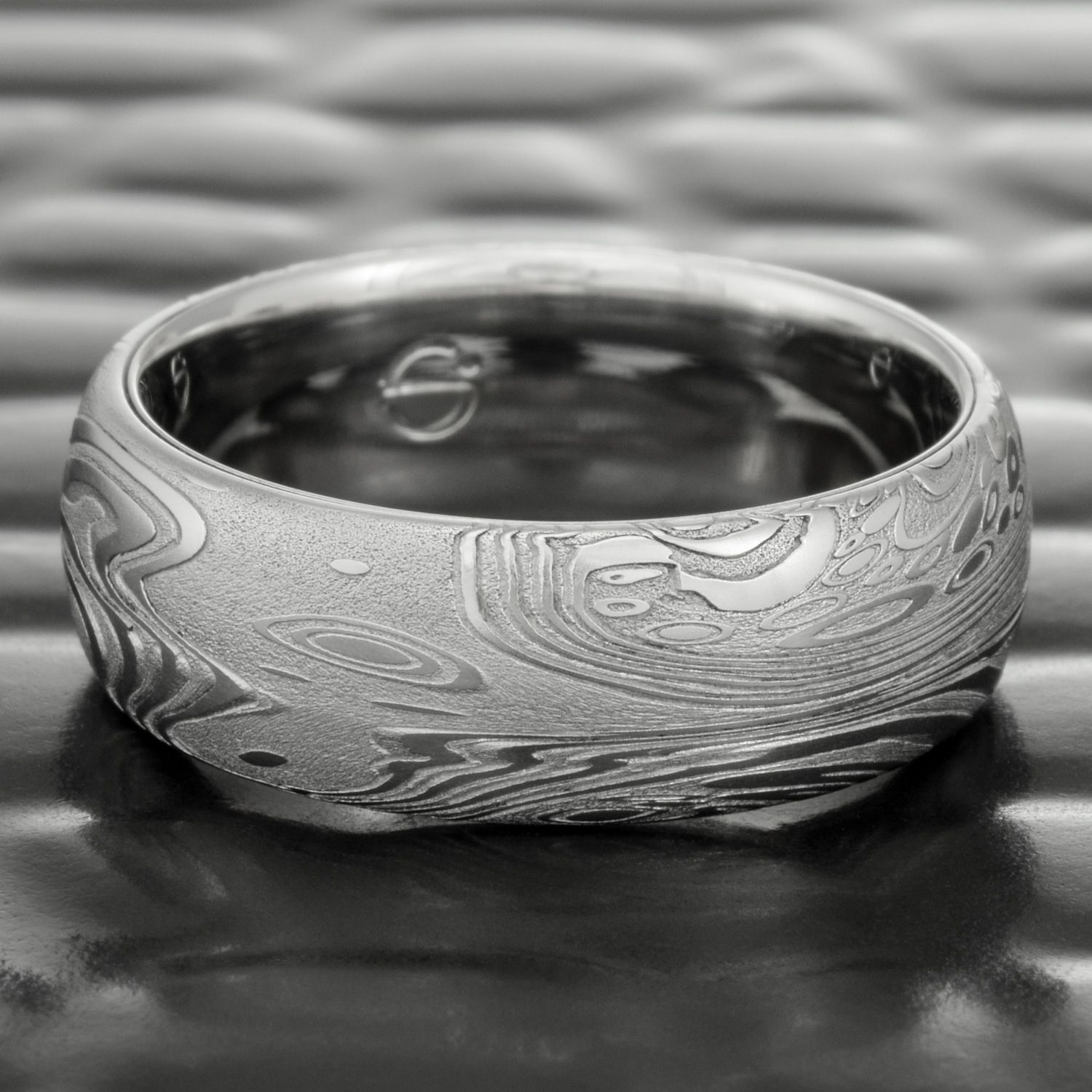 Ocean Wave Damascus Steel Wedding Band Domed With Palladium Liner Tidepools Steven Jacob Damascus Steel Wedding Band Steel Wedding Bands Steel Wedding Ring