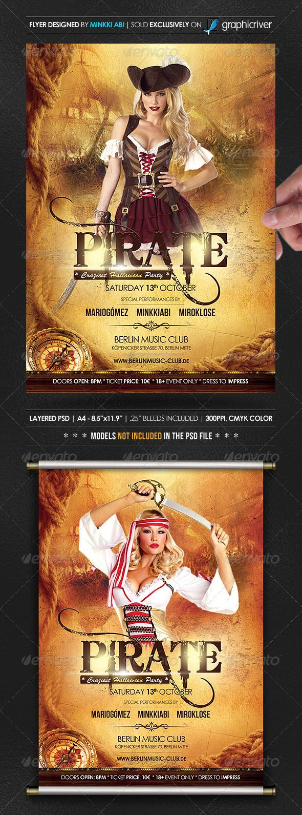 Pirate Halloween Poster/Flyer | Flyer template, Psd templates and ...