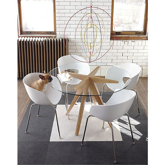 Orbit White Arm Chair In View All Furniture Cb2 Glass Dining