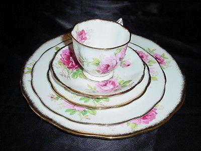 Royal Albert American Beauty Pink Rose Bone China 5 Pc Place Dinner Setting