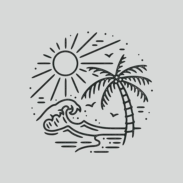 Graphicdesign Design Art Artwork Drawing Handdrawn Illustration Tattoo Slowroastedco Blackwork Blackwork Beach Drawing Beach Tattoo Easy Drawings