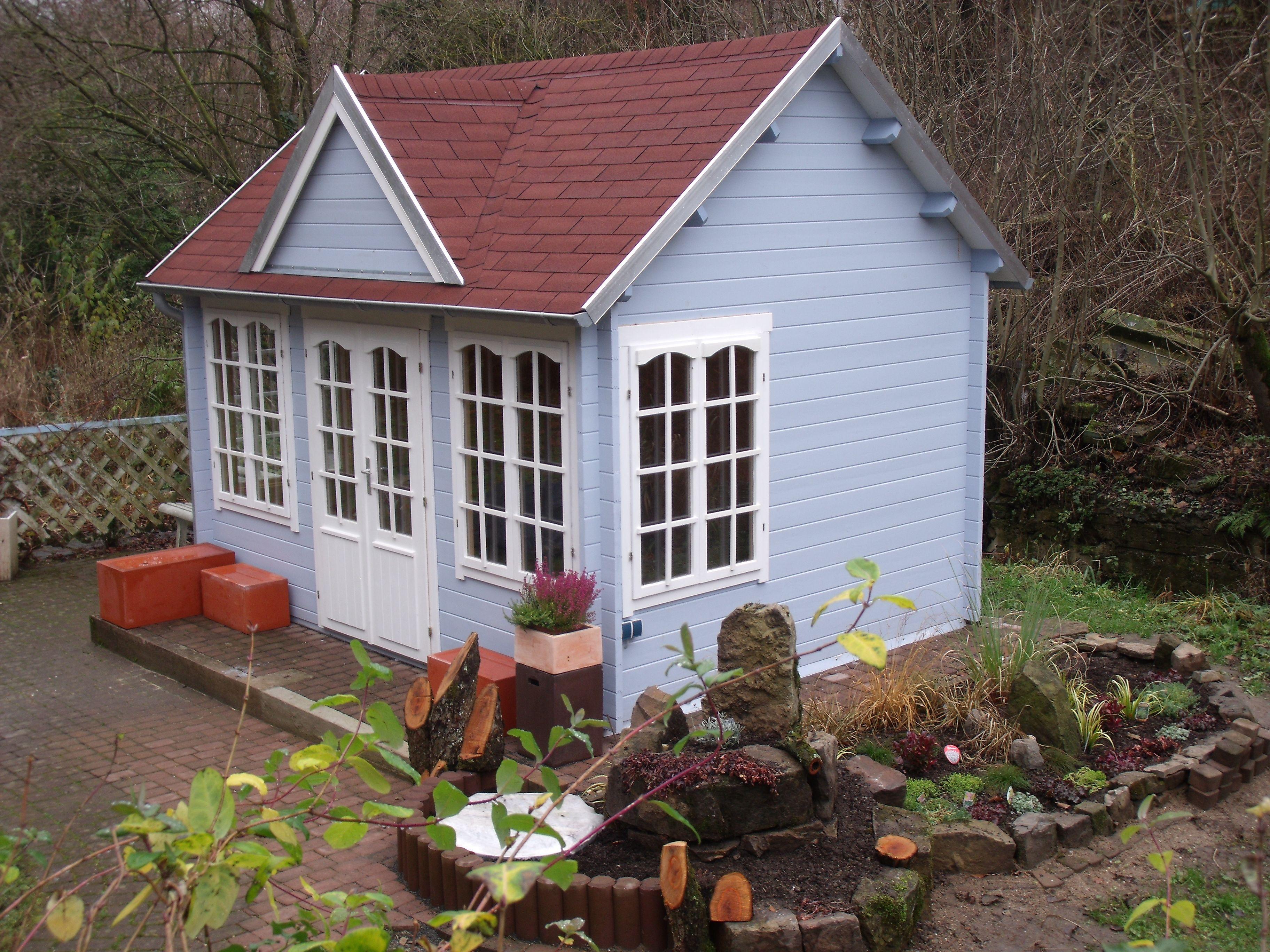 Clockhouse gartenhaus mit rotbraunem dach und hellgrauen - Gartenhaus clockhouse ...