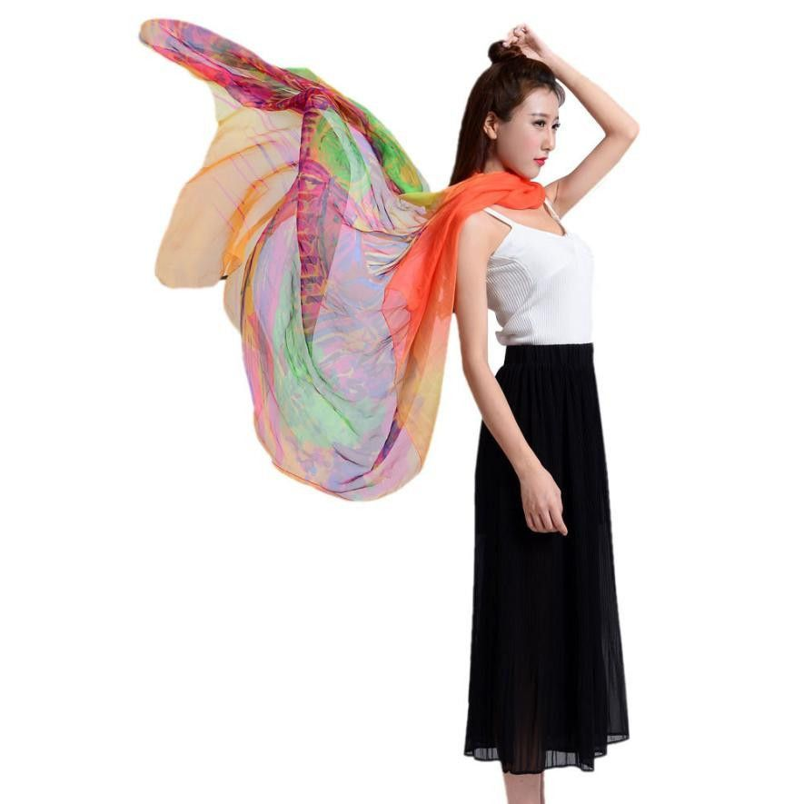 New Arrival Autumn Women Scarf Colorful Painting Women Long Soft Wrap scarf Ladies Shawl Chiffon Scarves
