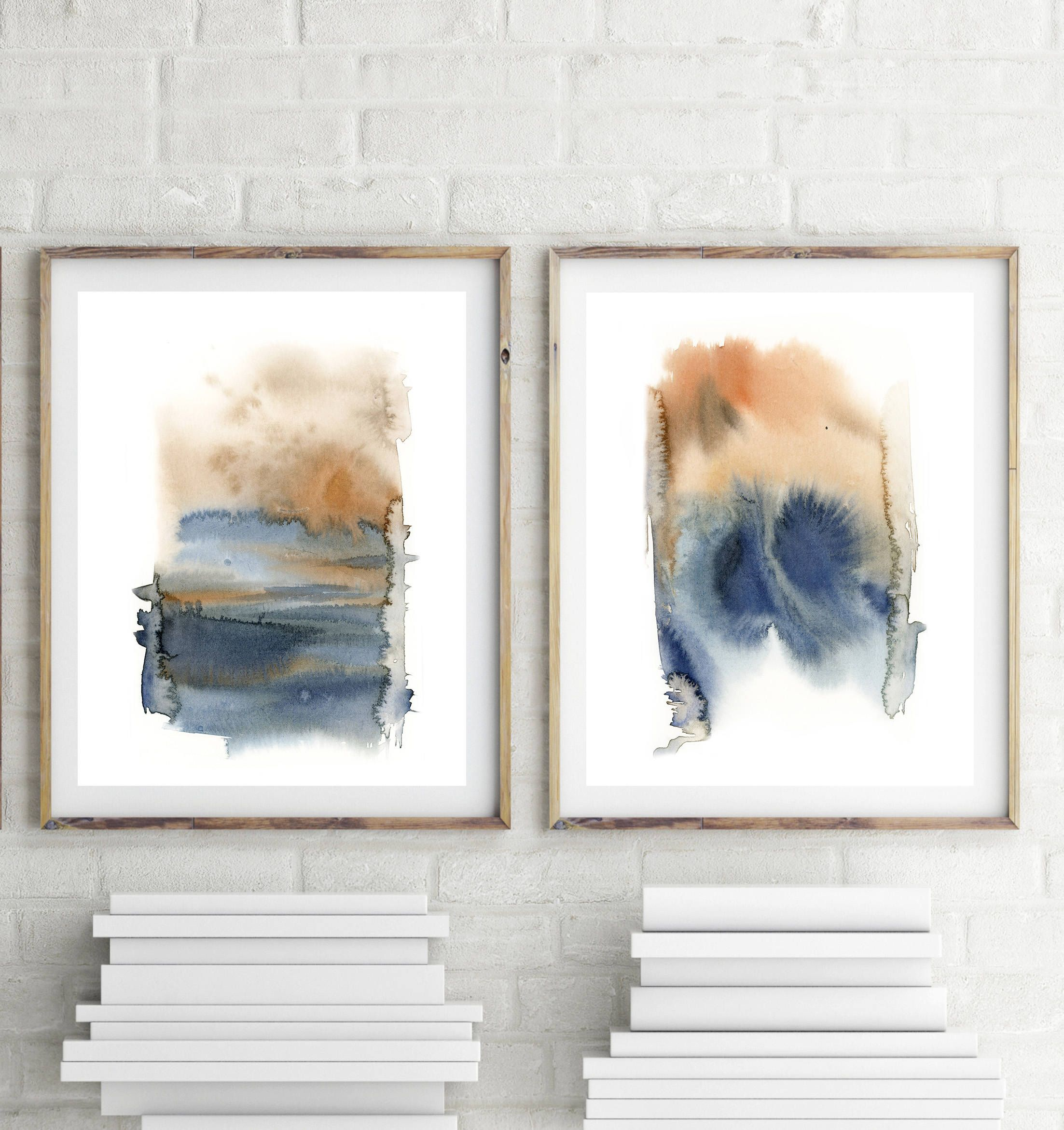 Abstract Landscape Art Print Set Minimalist Blue And Pale Orange Watercolor Prints Set Of 2 Fine Art Prints Modern Wall Decor Art In 2020 Abstract Art Landscape Modern Art Prints Modern