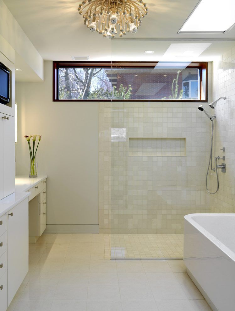 high windows bathroom contemporary with skylights abstract