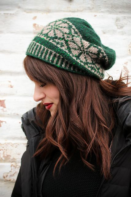 Nordic Fair Isle Slouch Hat pattern by Tanis Gray | Slouch hats ...