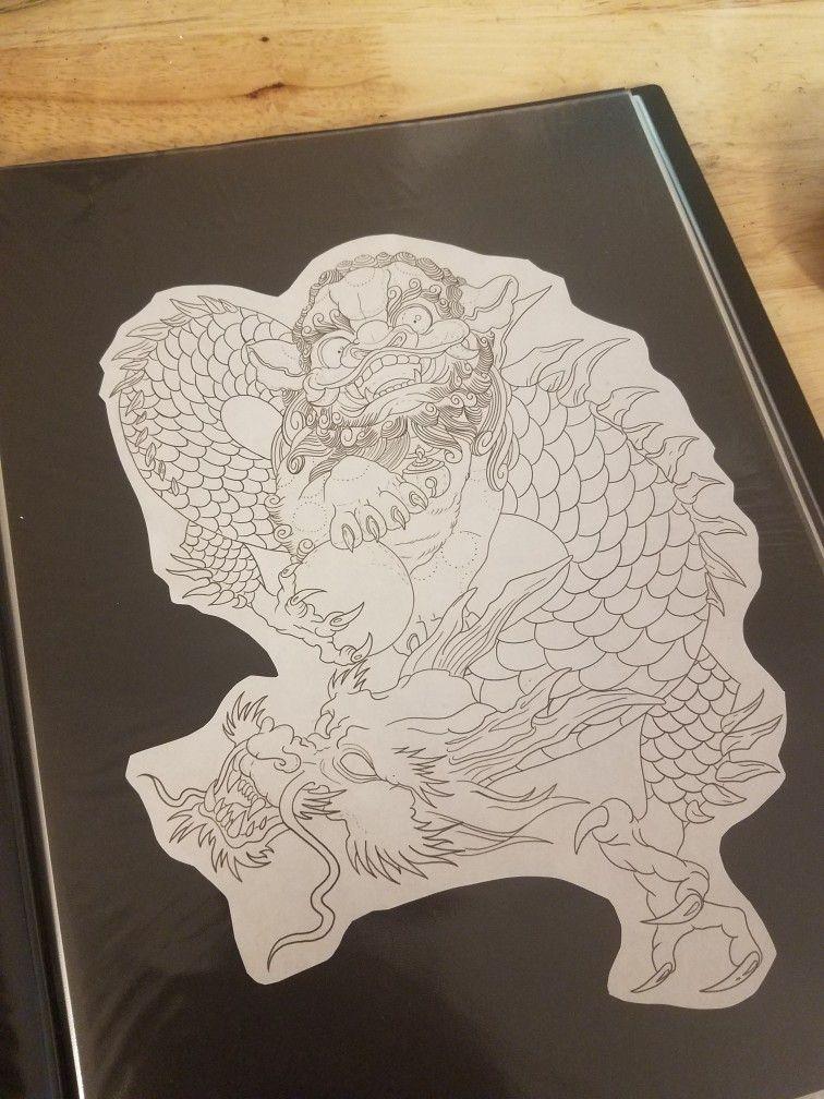 Custom mash up. @trinidadtattoos #foodog #tattoo #dragon #customdesign #coolart