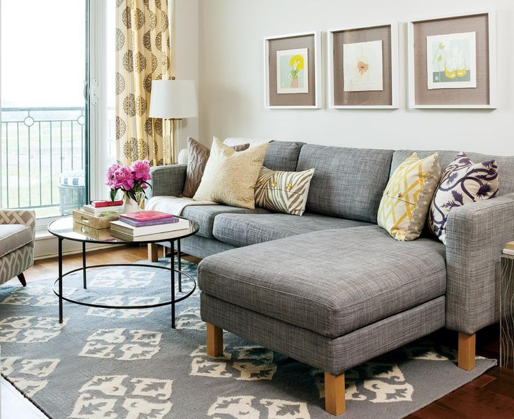 living room with gray sectional sofa