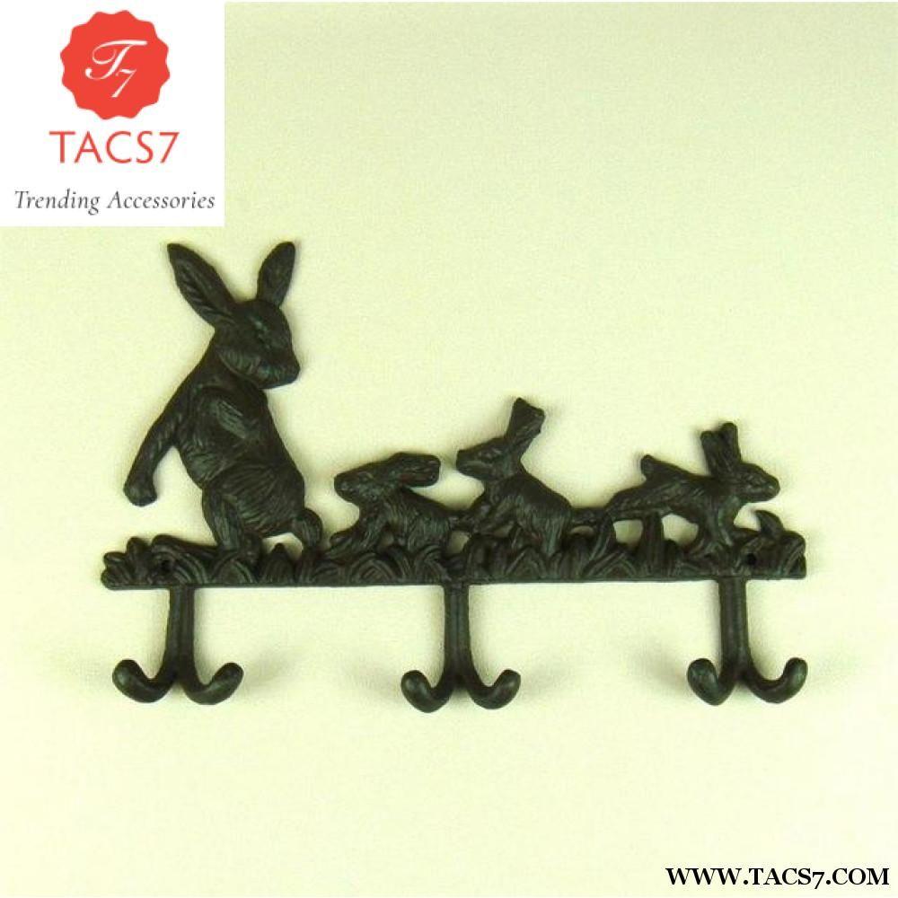 Creative Cast Iron Rabbit Figurine Clothes Hook Decorative Metal ...