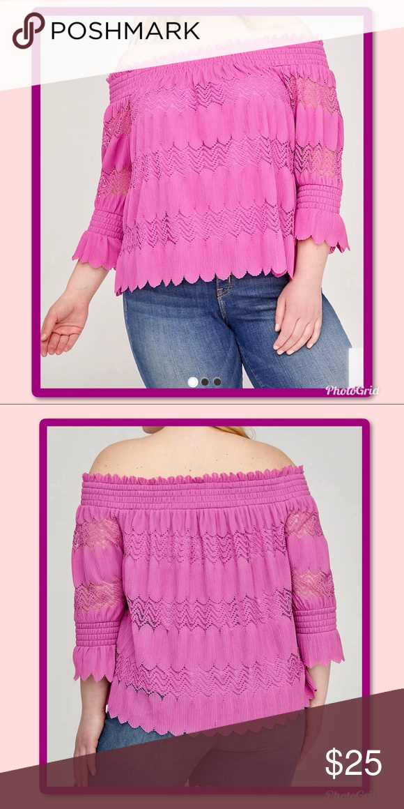 205375f4a65c81 NWT LANE BRYANT smocked off shoulder top 14 16-1X Radiant Orchid off shoulder  smocked top. 14 16 (1X) From a smoke and pet free home Shell 100%  Polyester