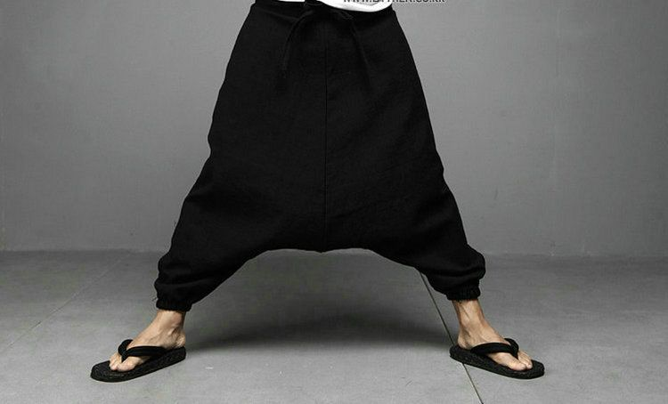 NEW Men Women Japanese Samurai Style Boho Casual Low Drop Crotch Loose Fit Harem Baggy Hakama