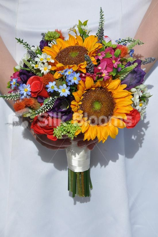 Rustic Yellow Sunflower and Country Flower Bridal Wedding Bouquet w ...