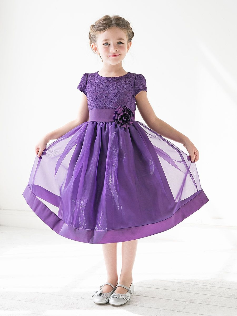 Purple Girls Floral Lace Bodice Organza Dress | Wedding Ideas ...