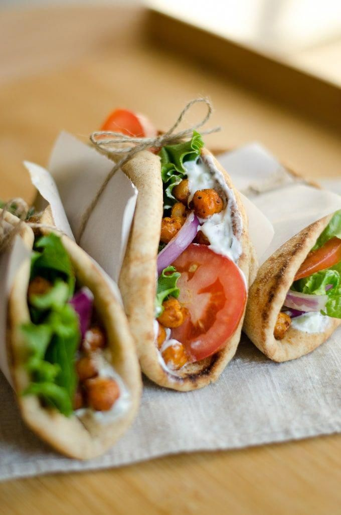 This Roasted Chickpea Gyros recipe is easy vegetarian dinner for feeding everyone on busy weeknights!