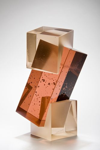 intersecting planes sculpture. beautiful intersection of transparent and translucent cast glass forms. | sculpture; object; design intersecting planes sculpture