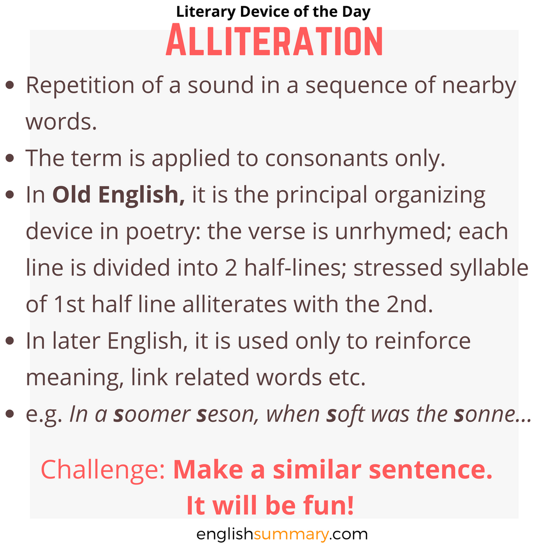 Alliteration Poetic Device Examples And Definitions