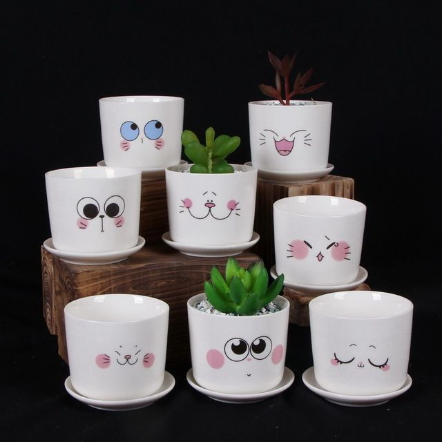 Fresh Mini Ceramic Small Vase Home Decor Gift Ideas And: Creative Ceramic Flowerpot Mini Emoji Flower Pots